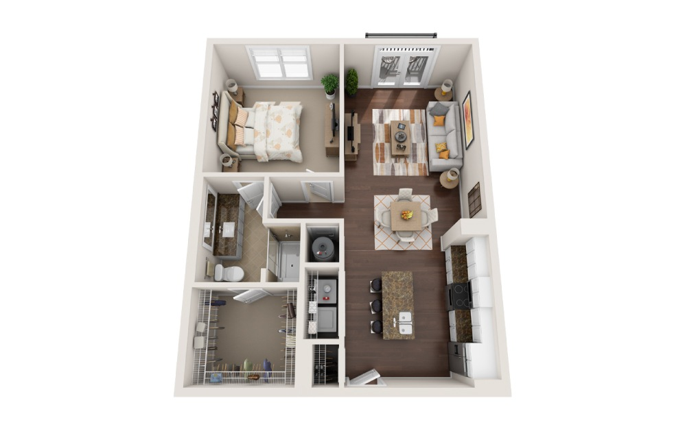 1K - 1 bedroom floorplan layout with 1 bath and 864 square feet.