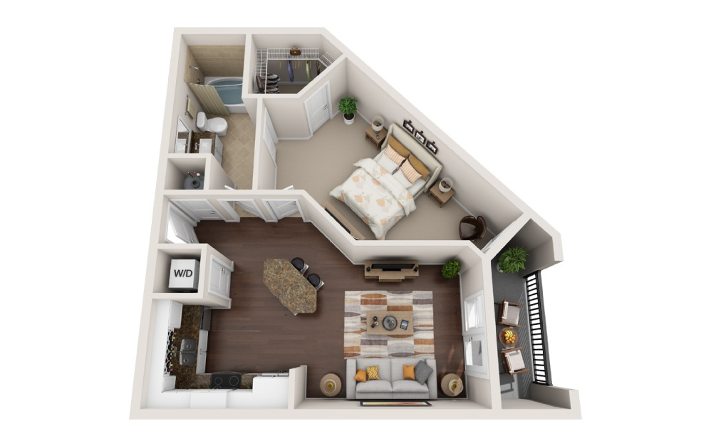 1R - 1 bedroom floorplan layout with 1 bath and 780 square feet.