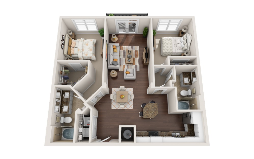 2A - 2 bedroom floorplan layout with 2 baths and 1152 square feet.