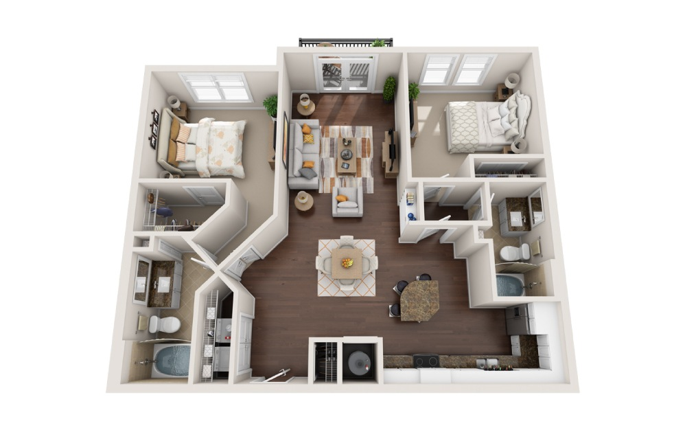 2CC - 2 bedroom floorplan layout with 2 baths and 1242 square feet.