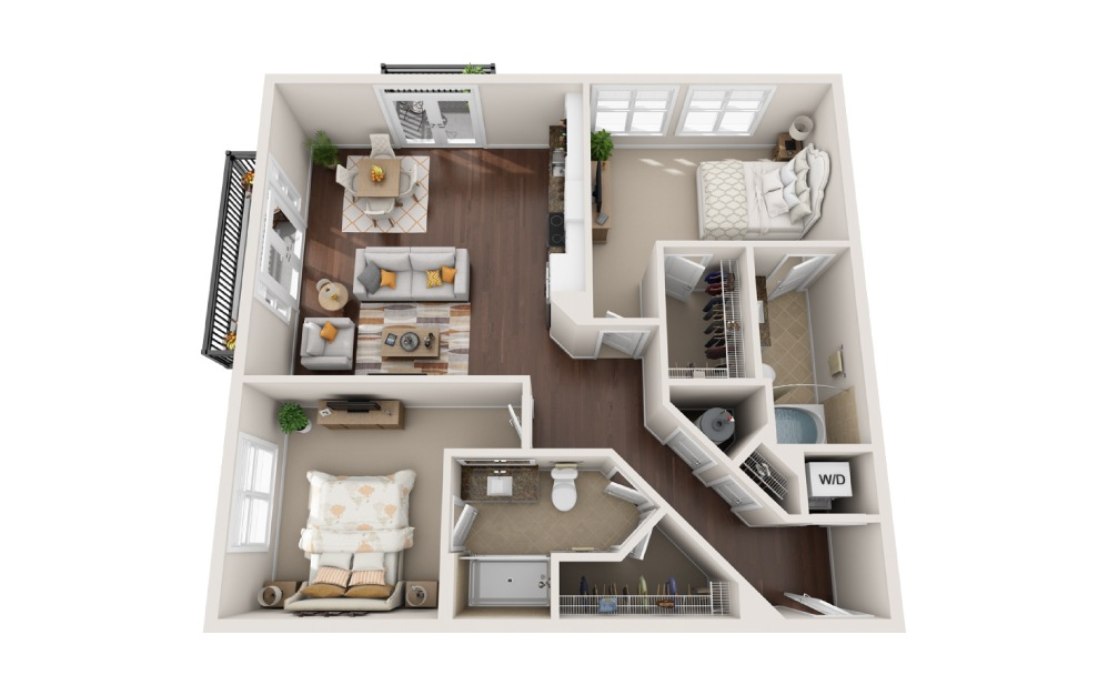 2U - 2 bedroom floorplan layout with 2 baths and 1181 square feet.