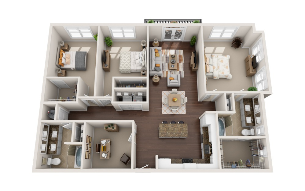 3D - 3 bedroom floorplan layout with 2 baths and 1831 square feet.
