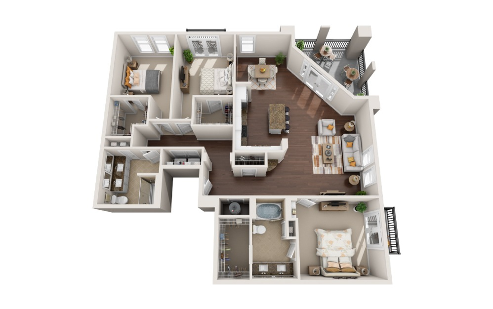 3J - 3 bedroom floorplan layout with 2 baths and 1968 square feet.