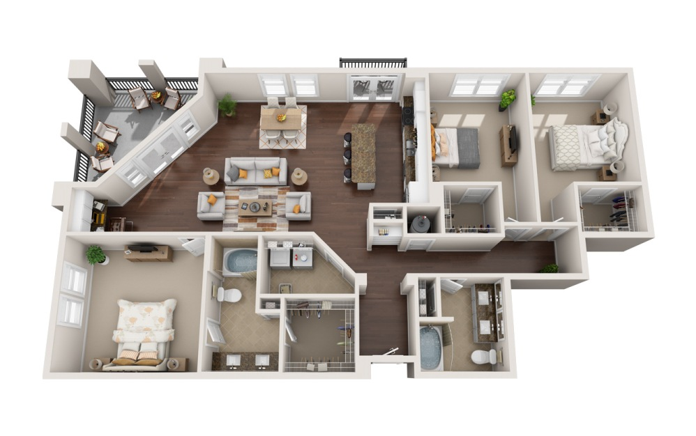 3L - 3 bedroom floorplan layout with 2 baths and 2005 square feet.