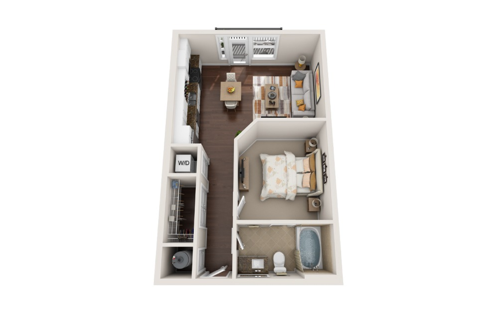 E4 - Studio floorplan layout with 1 bath and 719 square feet.