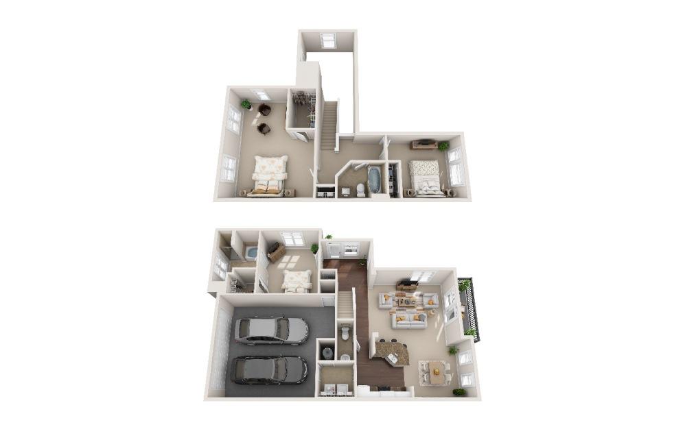 TH A - 3 bedroom floorplan layout with 2.5 baths and 2215 square feet.
