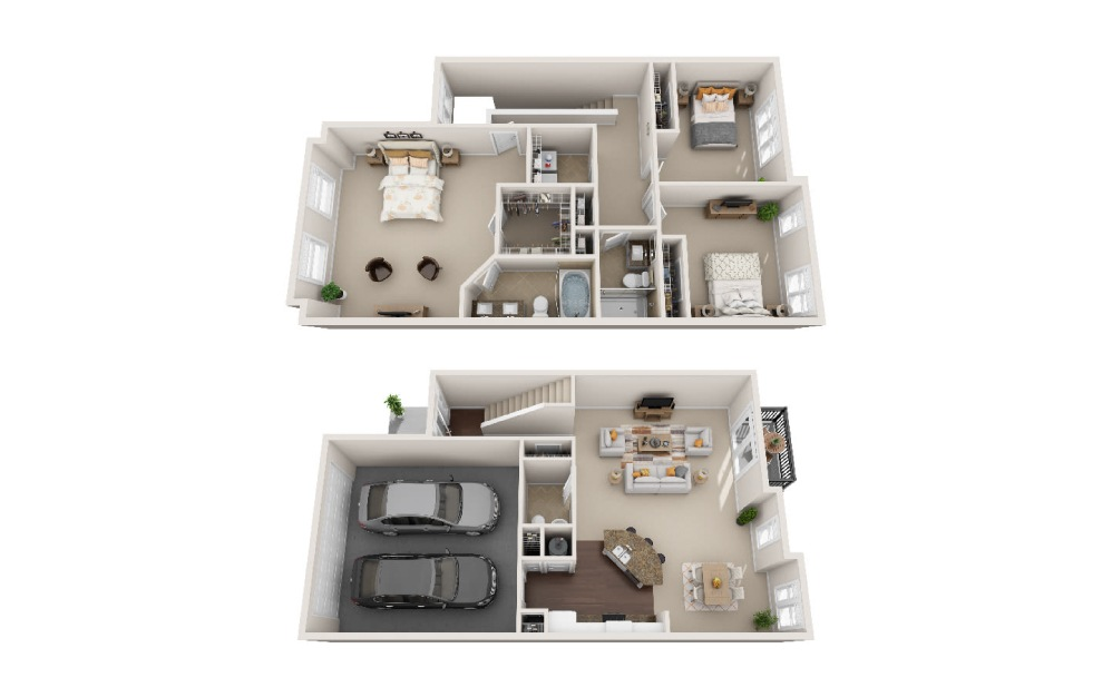 TH B - ALT - 3 bedroom floorplan layout with 2.5 baths and 2443 square feet.