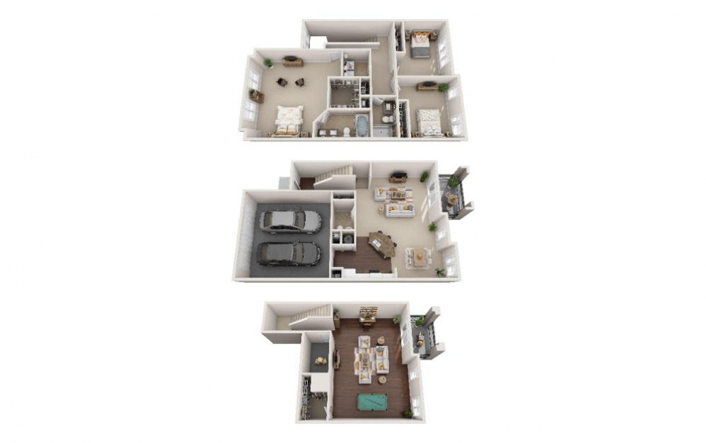 TH D - 3 bedroom floorplan layout with 2.5 baths and 3353 square feet.